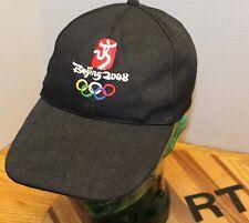 2008 BEIJING OLYMPICS USA BLACK STRAPBACK ADJUSTABLE HAT LONG BILL VGC RT