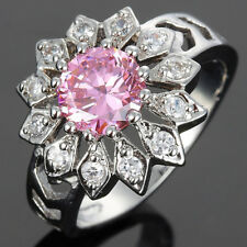 Women Jewelry Sunflower Cut Pink Sapphire Dainty Carnival Cocktail Ring Size 6