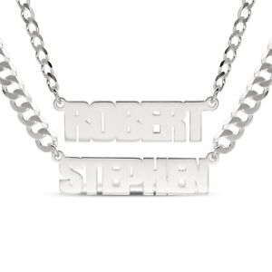 Personalised 925 Sterling Silver Name Necklace Men's Heavy Curb Chain Custom