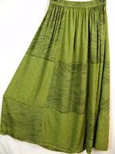 Sk237~Tienda Ho~MED GREEN~Patchwork~EMBROIDERED~Rayon~FLORAL~Maxi Skirt~OS L 1X?