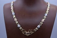 """17"""" I Love You Kisses & Hearts Necklace 14K Gold Clad Silver 925 XOXO Mom's Day"""