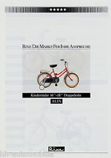 """Prospekt Rixe Alfa Kinderrad 16""""-18"""" Doppelrohr Fahrrad 1984 Fahrradprospekt"""