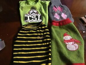 Dog Clothes, Sweaters And Tops; Lot Of 4 Pieces.  Medium, Pre Owned