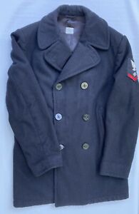 Vintage US Navy Wool Nuclear Insignia Peacoat 40L