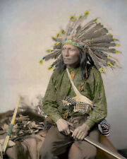 "LITTLE 1890 OGLALA SIOUX NATIVE AMERICAN INDIAN 8x10"" HAND COLOR TINTED PHOTO"