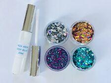 Gran Festival Cara/Cuerpo Kit 20 Ml cola Sirena/estrella/Jewel 4 X 10g ollas Glitter