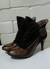 Ladies Hi Heel Bronze and Velour ankle boots SCH14782BN39 SIZE 39