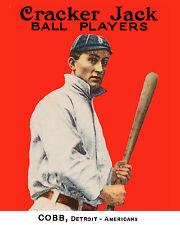 Ty Cobb Detroit Tigers - 1915  Cracker Jacks Baseball Card - 8x10 Color Photo