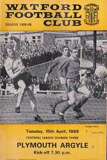 Football Programme>WATFORD v PLYMOUTH ARGYLE Apr 1969