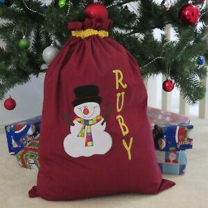 PERSONALISED CHRISTMAS/SANTA SACK - Snowman Design -