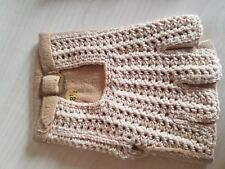 Gants Mitaines conduite femme rétro, vintage original, Peau et crochet