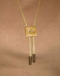 Vintage Gold Miners Resin Bolo Tie Necklace Gold  Pan & Shovel