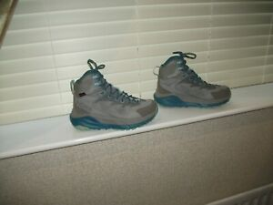 WOMEN'S HOKA ONE ONE SKY KANA GREY BLUE MIX EVENT LEATHER TRAINER BOOTS UK 6.5