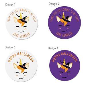 Halloween Stickers x 24 - Unicorn Theme - Personalised Option - 45mm