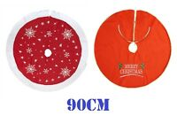 Large Christmas Xmas Tree Skirt Base Cover Decoration Red Snowflakes 90cm 35""