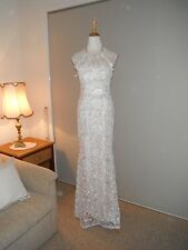 Designer Langham White Lace over Nude Ladies Evening Dress Size 10