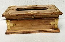 Wood Tissue Box Handcrafted Brass Fitted Rustic Tissue Holder Home Indian Art