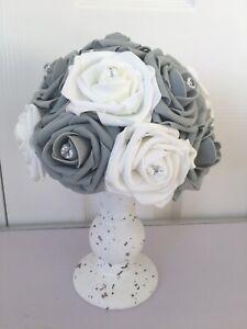 artificial flower arrangement White/grey Fleck Vase Grey/white Flowers