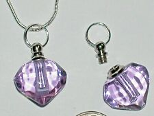 Glass Heart pendant cremation urn ashes perfume bottle Screw cap Necklace Purple