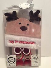 Little Me Baby My First Christmas Reindeer Hat & Booties Gift Set New!!!