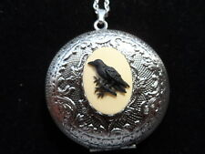 Raven Crows Bird Porcelain Cameo Pendant Handmade Gold Plated Jewelry