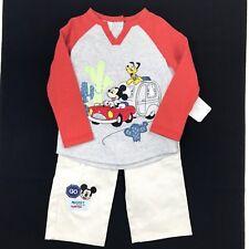 Disney Store Baby Boy Mickey T Shirt Cargo Pants Set Sz 18-24 Mo Grey Red Khaki