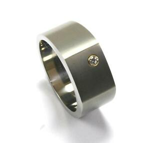 EDWARD MIRELL GRAY TITANIUM .06CT DIAMOND 18K GOLD MENS BAND RING Sz 10.5