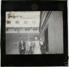 Glass Magic lantern Slide c1920 Just About To Board Ship