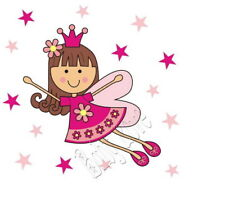 IRON ON TRANSFER FAIRY PRINCESS ANGEL STARS PINK 12x12
