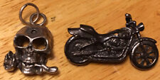 Motorcycle Biker Harley Pewter Pin Necklace Pendant Charm Skull Rose