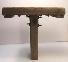 RUSTIC PRIMITIVE ANTIQUE BARN BOARD PINE MILKING STOOL SEAT FARM MADE