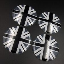 4pcs 52mm Gray UK Flag Wheel Center Hub Cap Badge Emblem Sticker For Mini Cooper