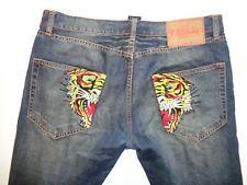 "Ed Hardy dark blue tiger jeans Waist 34"" x Leg 34"" mens"