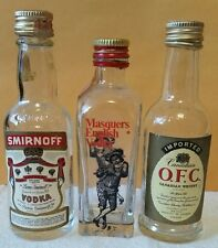 Vintage SMIRNOFF, MASQUERS ENGLISH VODKA, and O.F.C. WHISKEY Mini Liquor bottles