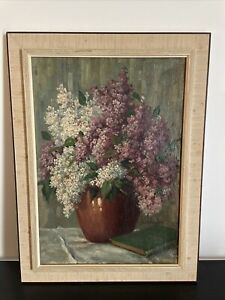 Framed floral still life with Goethe book oil painting. Signed Leonhard