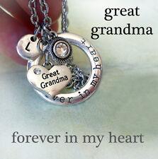 Great Grandma Forever In My Heart Necklace w-Swarovski Birthstone & Letter Charm