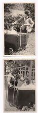 PHOTO ANCIENNE Bébé Enfant Landau Mère Vers 1950 2 Photos Portrait Femme Jardin