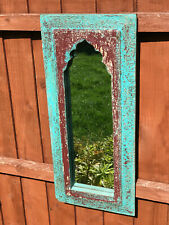 Antique Large Vintage Indian Arched Mughal Art Deco Mirror Blue Red Salvage