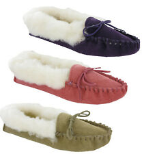 Mokkers Real Suede Sole Warm Lining Comfort Faux Fur Moccasins Slippers Ladies