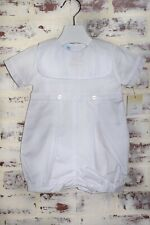 Petit Ami Baby Boys White Christening Romper with Cross Collar *FREE GIFT WRAP*