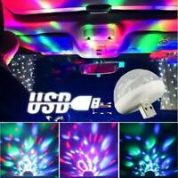 Mini USB RGB LED Stage Lamp Remote Controls Disco Ball Lights Home Car Party~