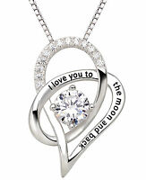 ALOV Sterling Silver I Love You To The Moon and Back Love Heart Pendant Necklace