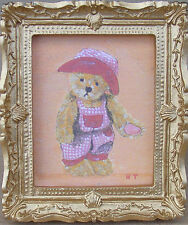 1:12 Scale Framed Picture Print Of Trevor Teddy Bear Dolls House Art JD