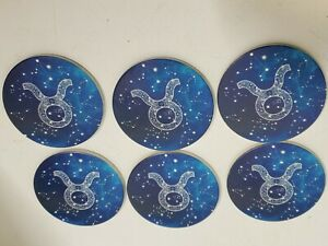 Ceramic Coasters Zodiac Sign Tarus Stars Horoscope