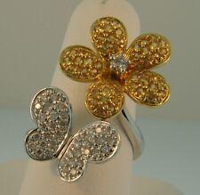 18K Gold 3D Diamond Citrine Flower & Butterfly Ring- 2.07 ctw
