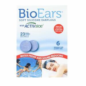BioEars Soft Silicone Earplugs with ACTIVALOE 6 pair, Blue. Premium silicone. Pr