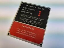 Land Rover series 1 2 2a 3 instruction plate for transfer gears and tyre wear