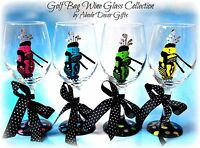 Golf Bag Wine Glass Lady Golfer Unique Fun Ball Club Tournament- Set of 4 Gift