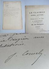 """Journaliste Jules Cornély (1845-1907): Lettre Paris 1888 / """" Le Clairon """""""