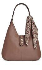 Tignanello Cognac Brown Leather Cargo Hobo Handbag with Scarf